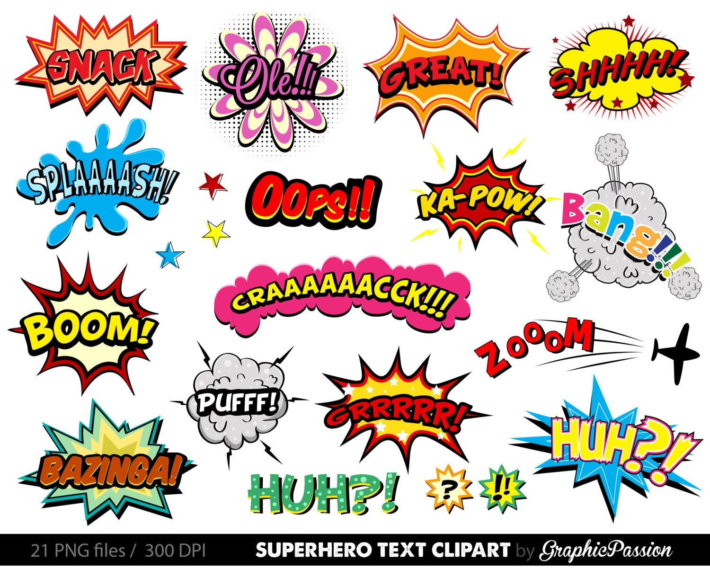 Cartoon Name: Comic Clipart Superhero Bubbles Clipart Speech Bubbles