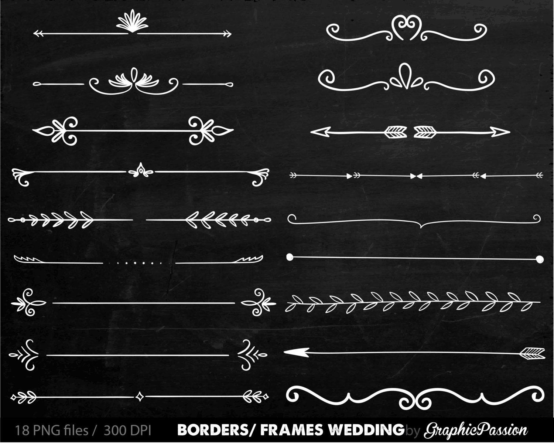 Digitale Grenzen Rahmen verzierten Vintage Hochzeit Einladung   Etsy