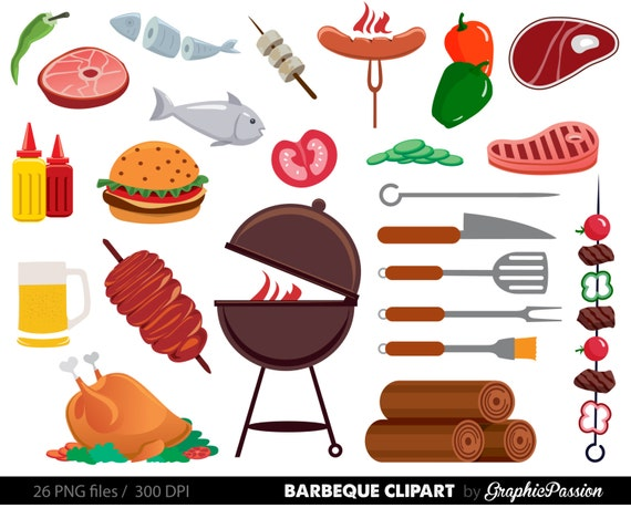 bbq clipart cookout clipart barbeque clipart party food rh etsy com cookout clipart border cookout clip art free
