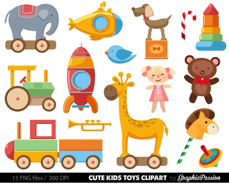 Baby Toys Clipart Clip Art Baby Clip Art Toy Cars Kids Etsy