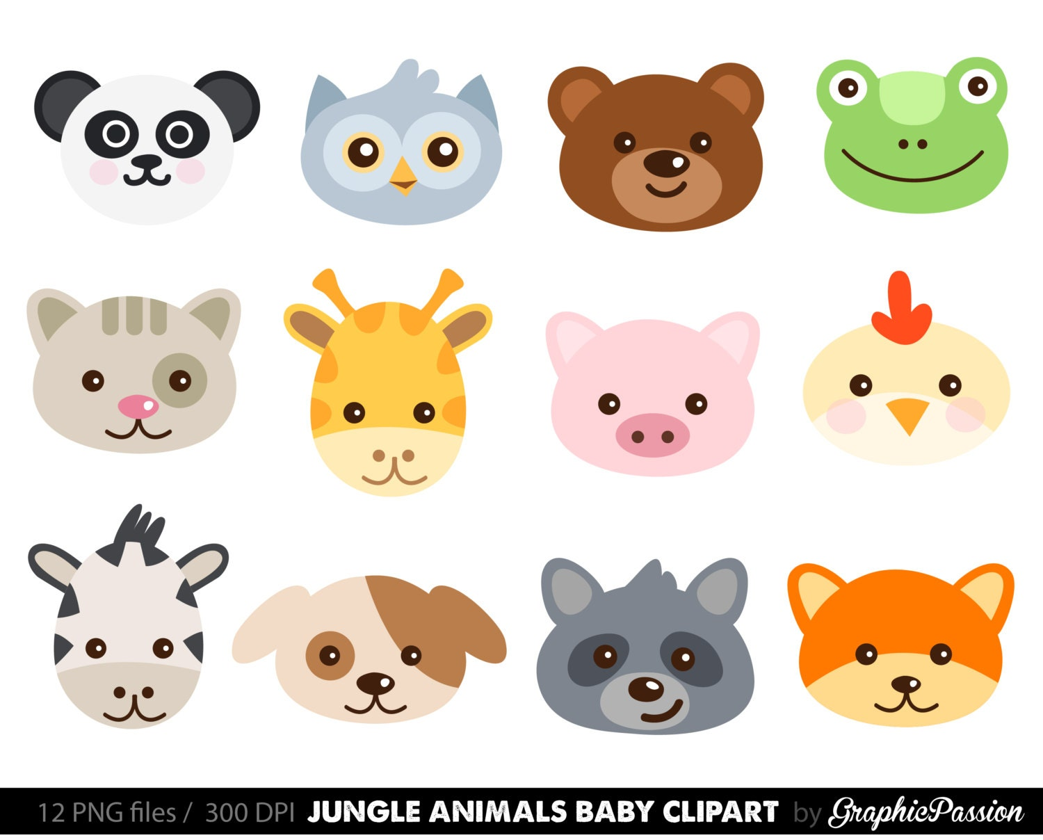 Cute Animal Faces Digital Clipart / Digital Scrapbooking ...