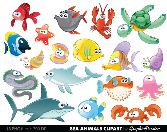 sea animal clipart under the sea baby sea creatures clip art etsy rh etsy com ocean animals clipart black and white Ocean Animals Coloring Pages