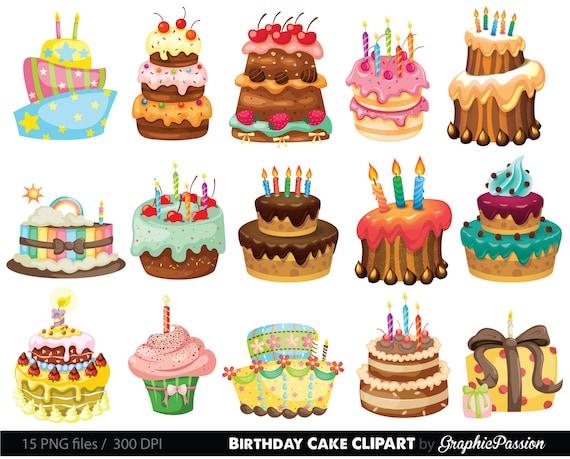 birthday cake clipart cake illustration birthday cake digital rh etsystudio com cake clip art black and white cake clip art images