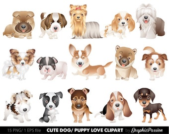Dog Clipart 2 Puppy Clipart cute dogs clip art puppy clipart  dog illustration For Personal and Commercial Use/ INSTANT DOWNLOAD