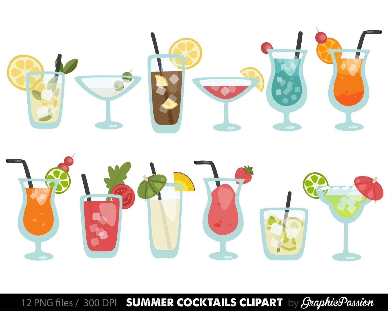 Sommer-Cocktails Clipart Cocktail Clip Art Sommer Clip-Art   Etsy