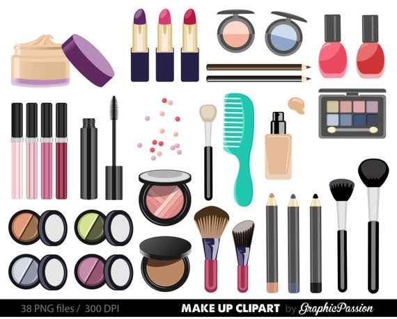 make up collection digital clipart beauty clipart cosmetic etsy rh etsy com makeup clip art transparent makeup clip art transparent