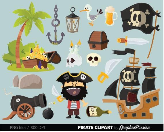 pirate clip art pirate ship clipart treasure nautical anchor etsy