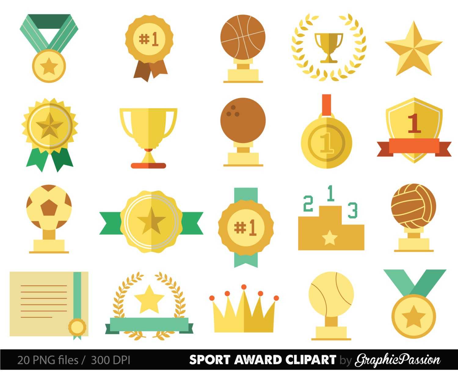 sports clipart racing prizes flags digital paper stars medals | Etsy
