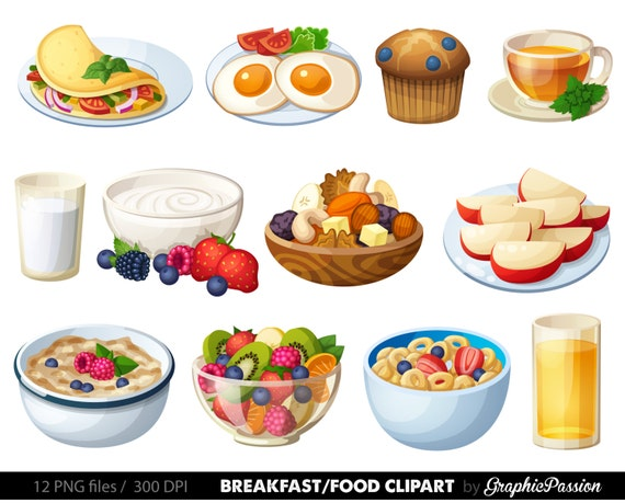 breakfast clipart food clipart dessert clipart food clip art etsy rh etsy com breakfast food clipart Breakfast Clip Art