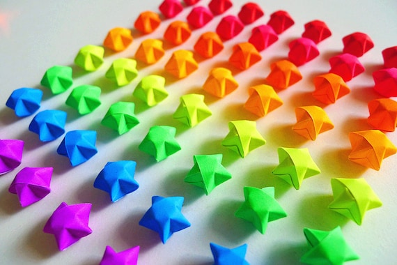 Bright Color Rainbow Origami Lucky Stars Wishing Starshome Etsy