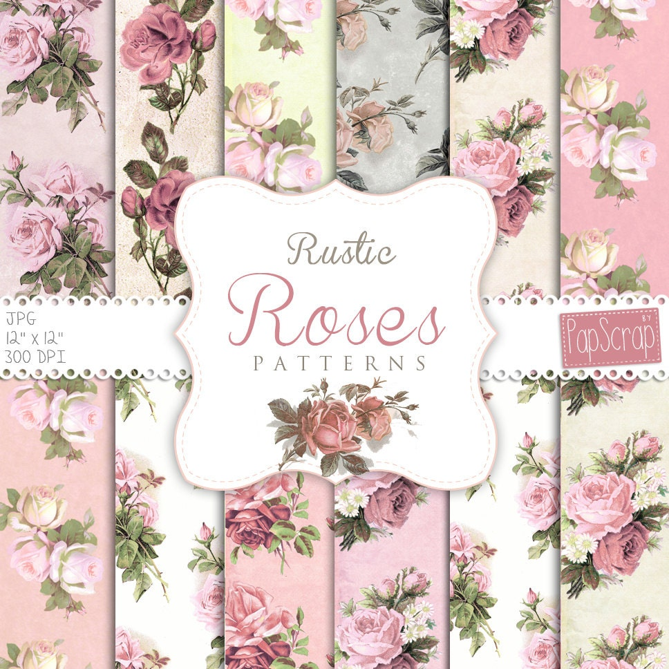 Shabby Chic Digital Paper Rustic Roses Pink Etsy