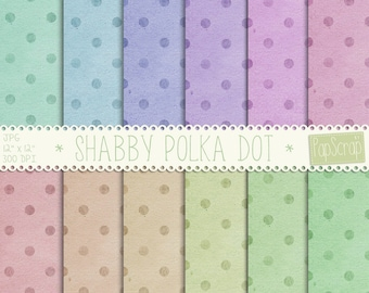 Shabby Polka dot digital paper, Digital polka dot paper, digital scrapbook paper, colorful polka dot, vintage polka dot, shabby papers