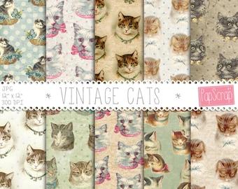 "Cat digital paper : ""Vintage Cats"" vintage digital paper with cats on rustic background, vintage ephemera, vintage backgrounds, decoupage"