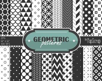 "Black and white digital paper : ""Geometric Patterns"" - black and white geometric patterns for scrapbooking, invites, card making / doodles"