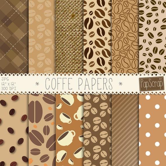 Coffee Digital Paper Coffe Papers Brown Digital Etsy