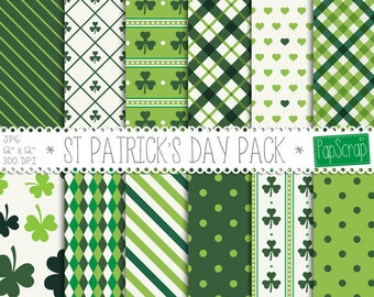 St Patricks Day Digital Paper Pack / Irish Digital Paper, St Patrick Day Decor, Printable St Patrick's Day Paper, Shamrock Green Patterns