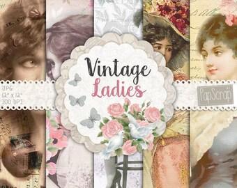 "Shabby chic digital paper : ""Vintage Ladies"" vintage ephemera, vintage shabby chic paper and vintage ephemera on rustic background"