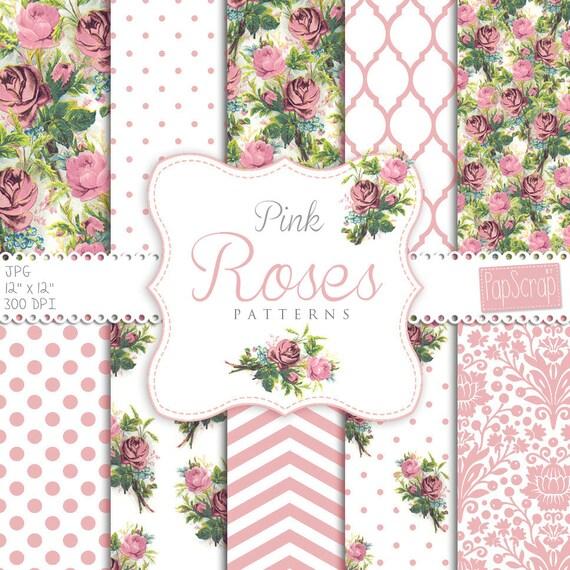 Papel digital de rosas: Patrones de rosas rosa | Etsy