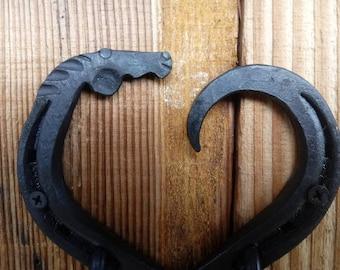 Horseshoe heart horse head double hook, hand forged