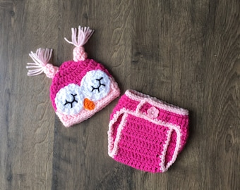 Owl Diaper Cover & Hat Set Baby Girl Pink Photo Prop Handmade Crocheted Ready To Ship Made in the USA
