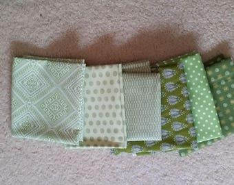 Fat Quarter Bundle of 6 Quilt Shop Quality Green Fabric