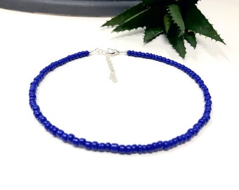 Royal blue beaded velvet rhinestone big choker