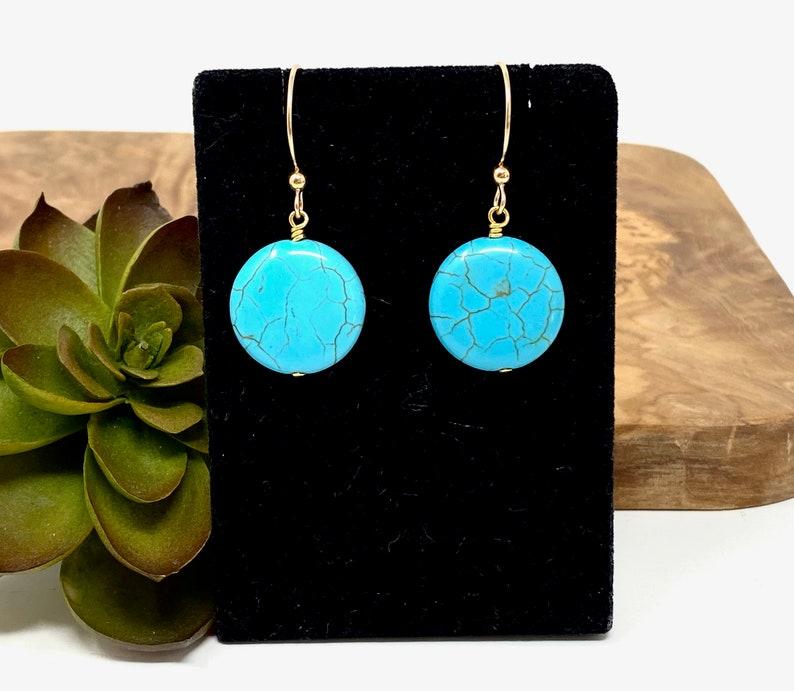 1602 Turquoise Magnesite Circle Drop Earrings Turquoise Blue Gemstone Dangle Earrings Small Circle Earrings