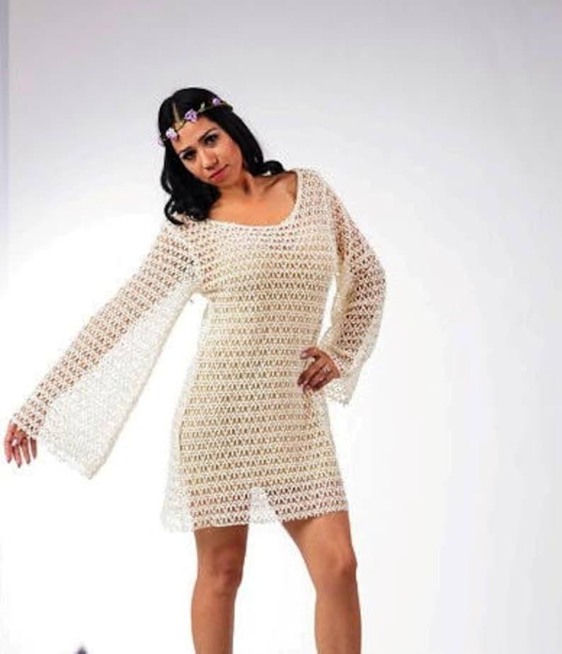 Ivory cotton crochet lace Size L bell sleeves short lace dress hippie lace dress 8 Boho chic mini mini Bohemian lace dress