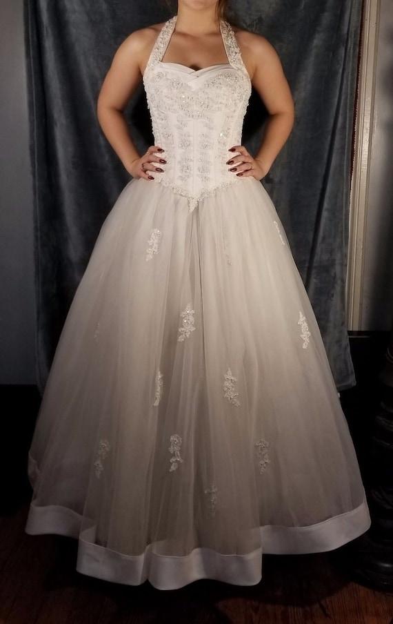 Halter White Tulle Beaded, Wedding Dress, Princess
