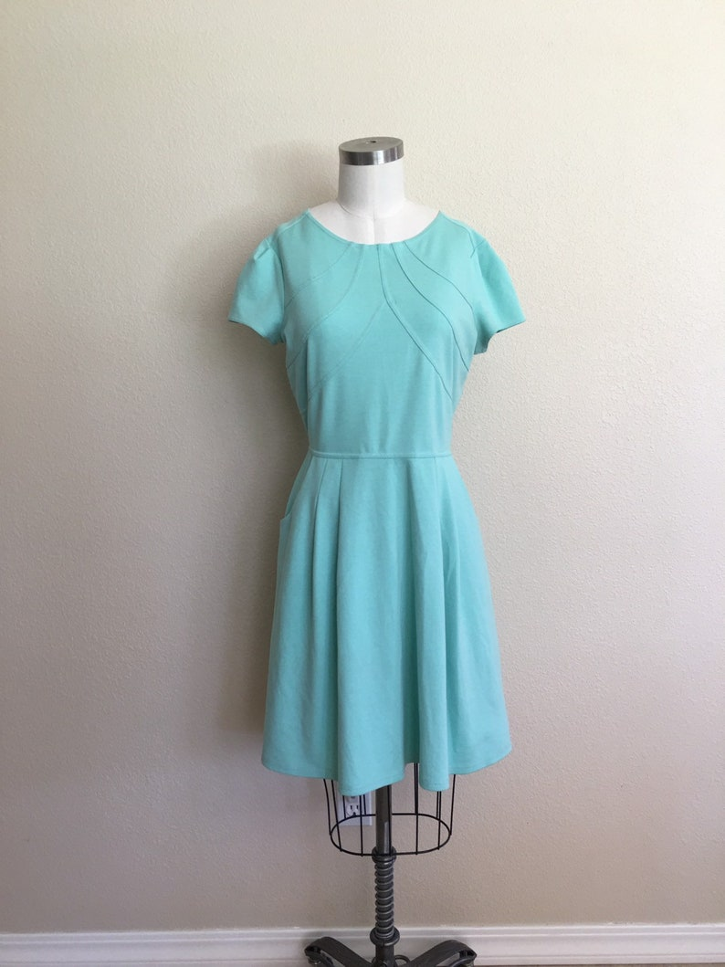 soft teal green dress thick and stretchy size 8-10 Aqua green mint green modest dress seafoam