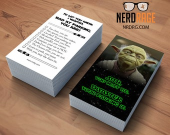Bad parking cards etsy bad parking yoda cards stack of 50 funny parking card star wars inspired novelty business card great gag gift colourmoves