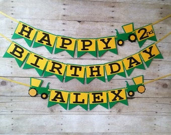 Tractor Birthday Banner - party supplies - tractor banner - boy birthday - tractor themed party - personalized