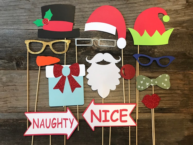 Christmas Photo Booth Props Xmas Ugly Sweater Party Decorations
