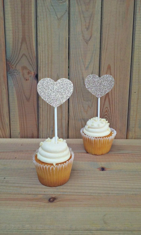 Heart Glitter Cupcake Toppers Heart Decorations Party Etsy