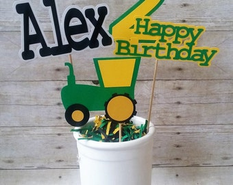 Tractor BIrthday Centerpiece - tractor party - tractor decorations - boys birthday decor - personalized decor - party supplies