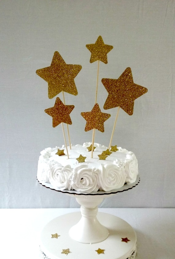 Gold Glitter Star Cake Topper Party Supplies