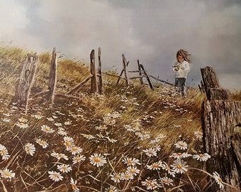 Carolyn Blish Picking Daisies 1968 Original Collograph