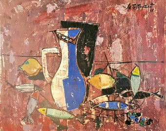 Miodrag Protic Still Life with Pitcher 1955 Original Lithograph