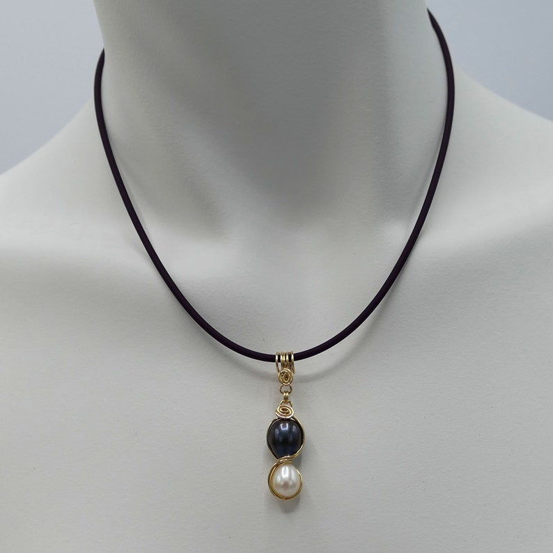 14k gold filled purple rubber cord necklace white black pearl pendant adjustable 16-18