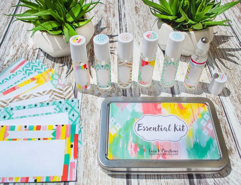 Essential Oils Kit for Travel Watercolor Tin Roller bottles image 0