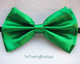 059156335880 Kelly Green Bow Tie - Shiny Kelly Green Color Bowtie Pattern Unisex  Adjustable Strap Hipster St. Patrick's Day Groomsmen Wedding