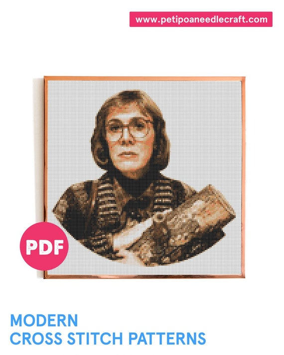 Twin Peaks • Cross Stitch Pattern Modern • Digital Instant Download PDF • Log Lady • David Lynch  • TV Show Cross Stitch • Modern embroidery
