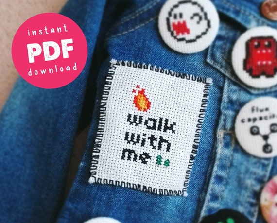 Fire walk with me - Twin Peaks DIY Patch Modern Cross Stitch Pattern - TV show - Easy - Beginner - Perfect gift