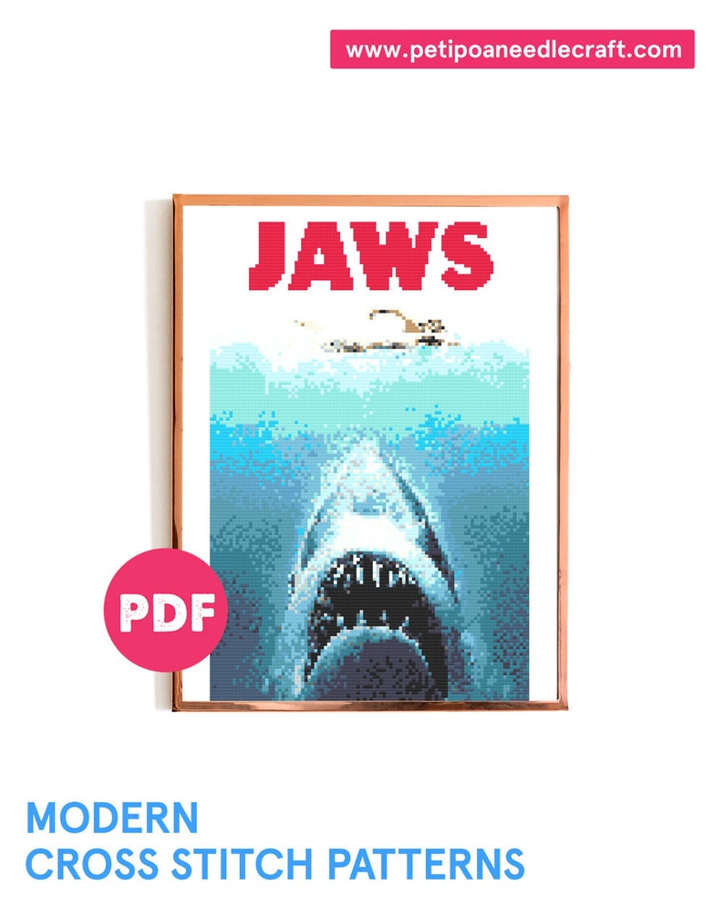 JAWS Cross Stitch  Halloween Embroidery  Horror Movie Cross image 0