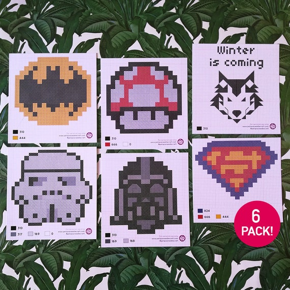 Modern and Geek Cross Stitch Postal Pattern Collection: Star Wars, Superman, Batman, Game of Thrones and Mario! Perfect for beginners