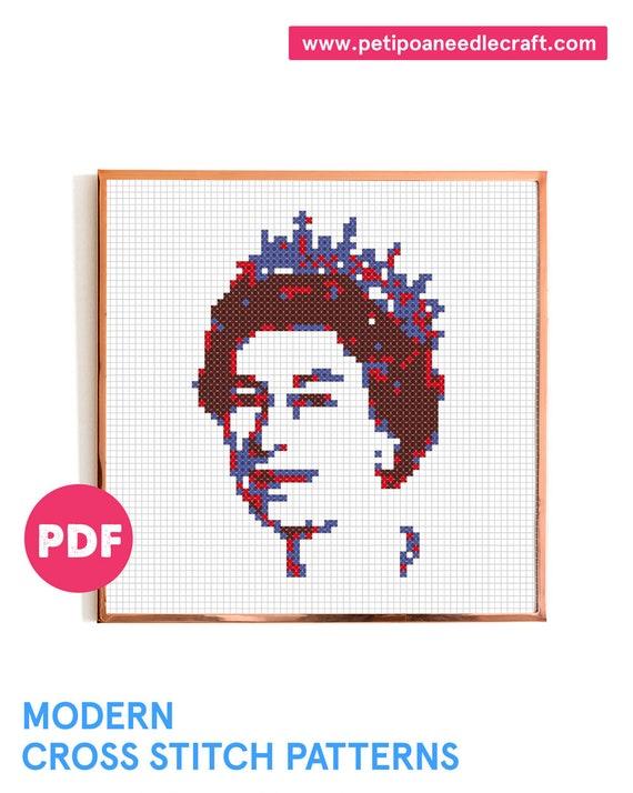 Queen Elizabeth • Cross Stitch Pattern Modern • Digital download • Portrait • UK • Easy cross stitch • Modern embroidery