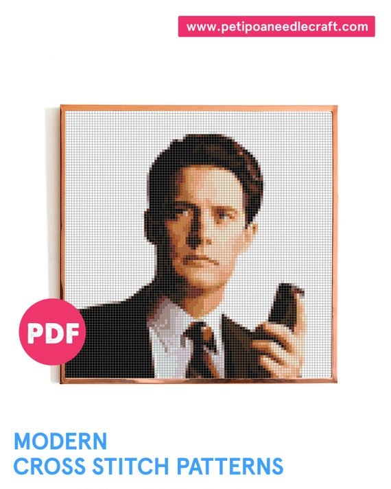 Twin Peaks • Cross Stitch Pattern Modern • Digital download • David Lynch • Agent Cooper • Modern embroidery