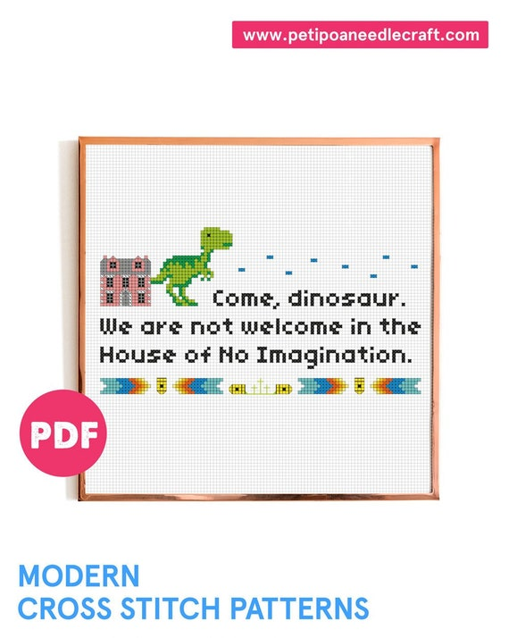 Friends TV show • Funny Cross Stitch Pattern • Digital download • Dinosaur • Phoebe Buffay • Modern embroidery