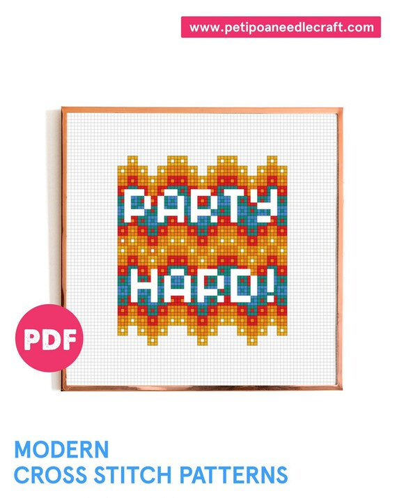 Party • Funny Cross Stitch Pattern • Digital download • Party hard • Happy • Modern embroidery