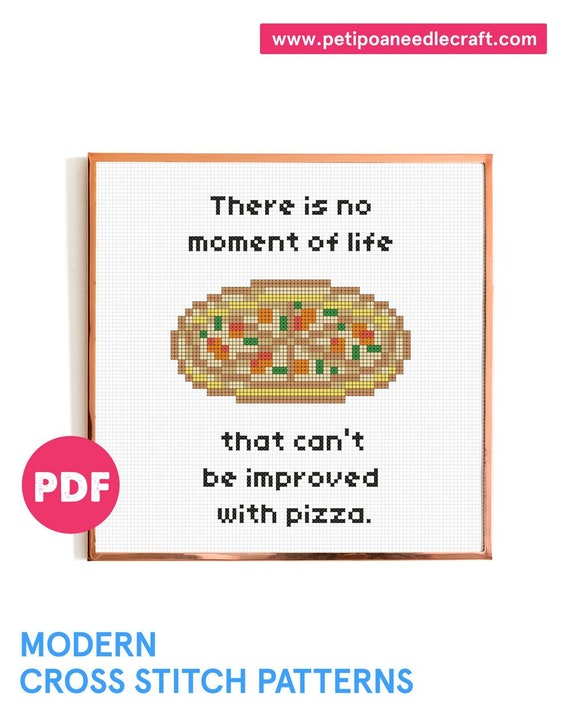 Daria • Pizza • Funny Cross Stitch Pattern • Digital download • Modern embroidery